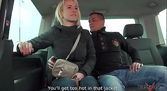 Cheating buxomy wife fucks a stranger in traffic & Mea Melone record it