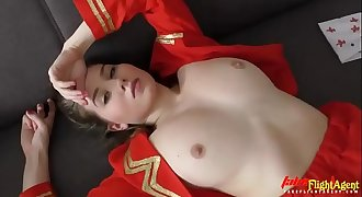 Beautiful Stewardess in Takes Big Monster Black Cock in her Tight Pink Pussy