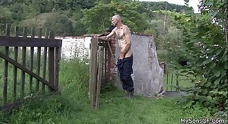 Oldman pleases son's gf outdoors