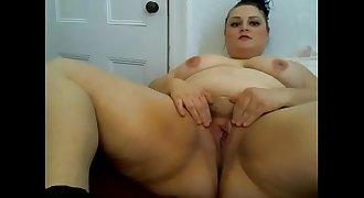 Sexy BBW young blonde big tits hairy pussy dildo masturbation cum hitachi